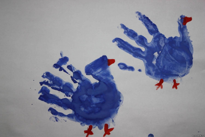 Открытки днем, картинки пальчиковыми красками ладошки