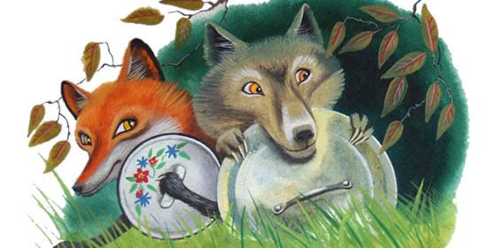 """""""Il Lupo e la Volpe"""", """"Волк и лиса""""-  сказка братьев Гримм на итальянском языке, текст"""