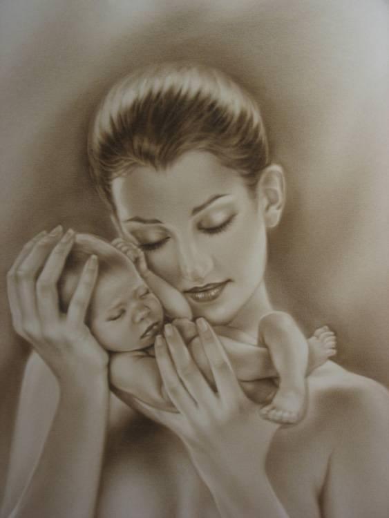 рисунки мать и дитя на руках был части